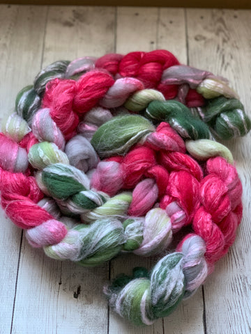 FROSTED POINSETTIA™ Hand Paint - Merino Wool / Bamboo Top-  4.2 oz (1204)