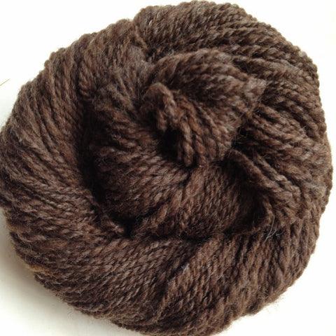 DK/WORSTED - Domestic Wool Hand Spun Yarn - Brown - 250 yards available