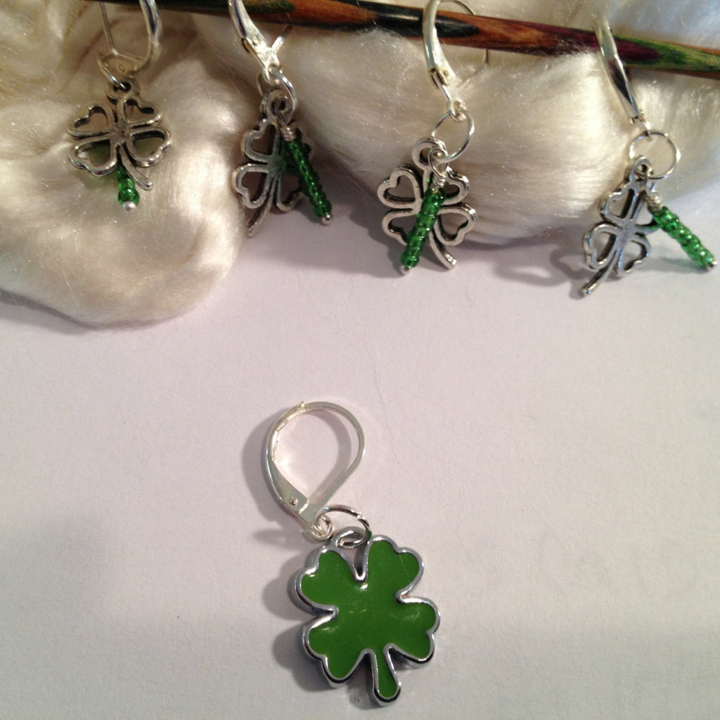 Knit Bling Removable or Regular - 4 Leaf Clover - Set Of 5