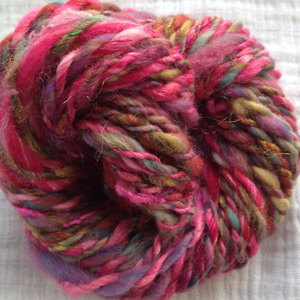 Hand Spun Pink Multi - 1.0 oz- 20 Yds - Worsted Weight