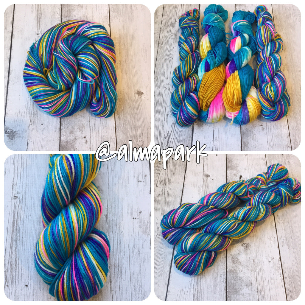 Turquoise Owl with the Pink Eyes™ Fingering/ Sock weight - MCN 435 yds 3.5 oz