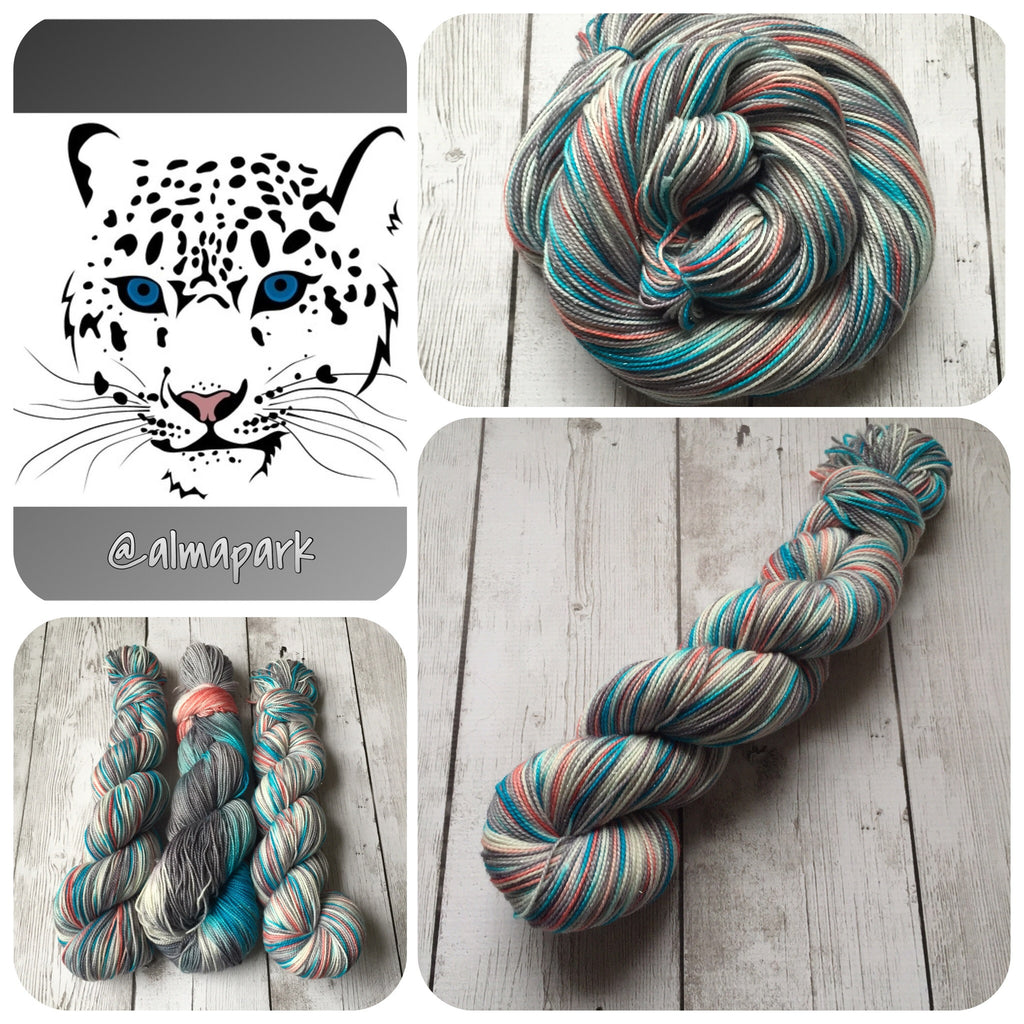 Snow Cat -  Fingering/ Sock Hand Painted yarn 438 yds