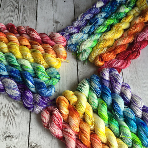 Pixie-Stix™-Minis Rainbow Fing/ Sock Hand Painted 550 yds (120 grams)  RTS