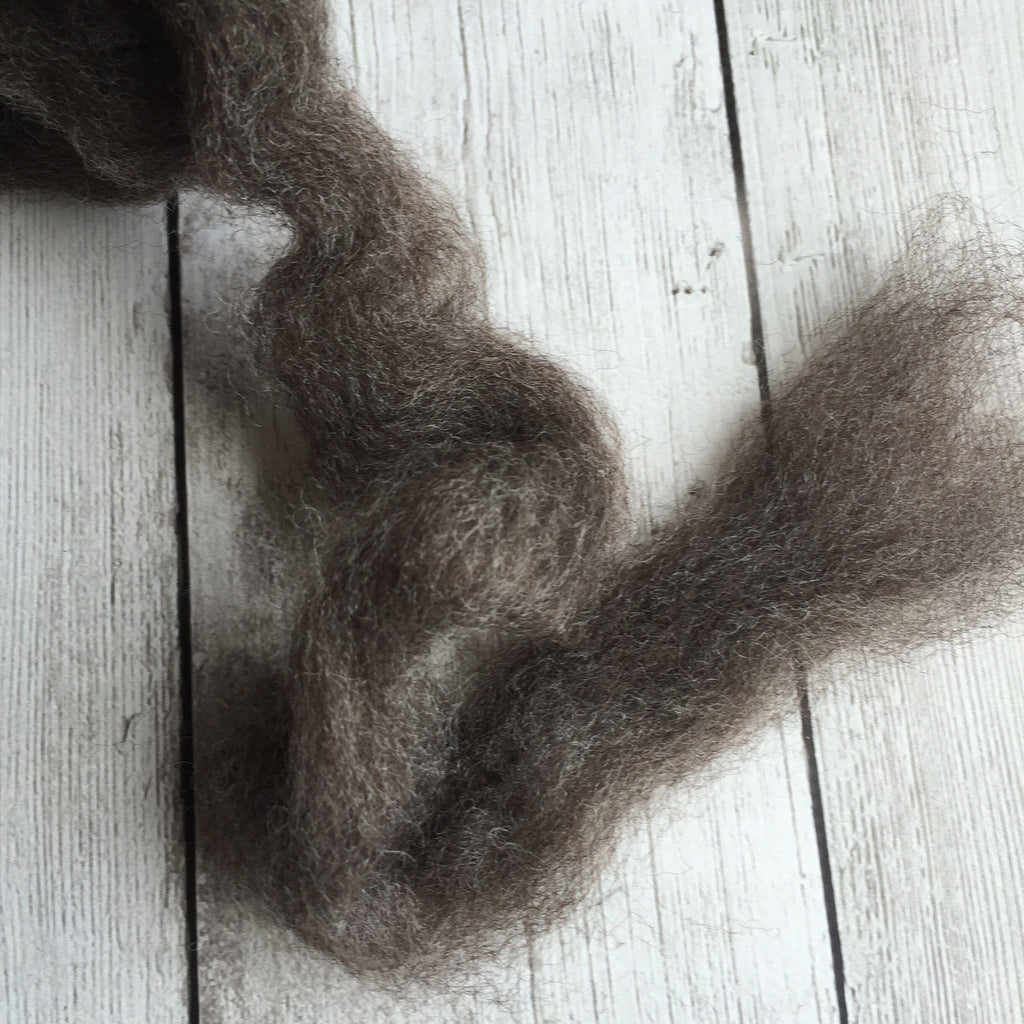 100% Romney Hogget Pin-Drafted Roving - Dark grey  - 2 oz