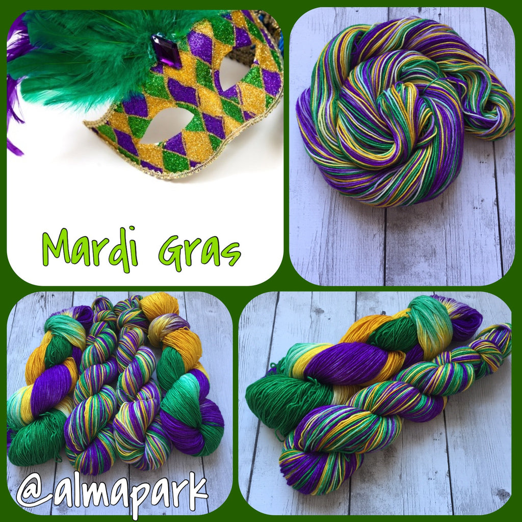 PRE-ORDER for Marcia - Mardi Gras™ Pixie-stix™ Fingering/ Sock Hand Painted yarn 463 yds