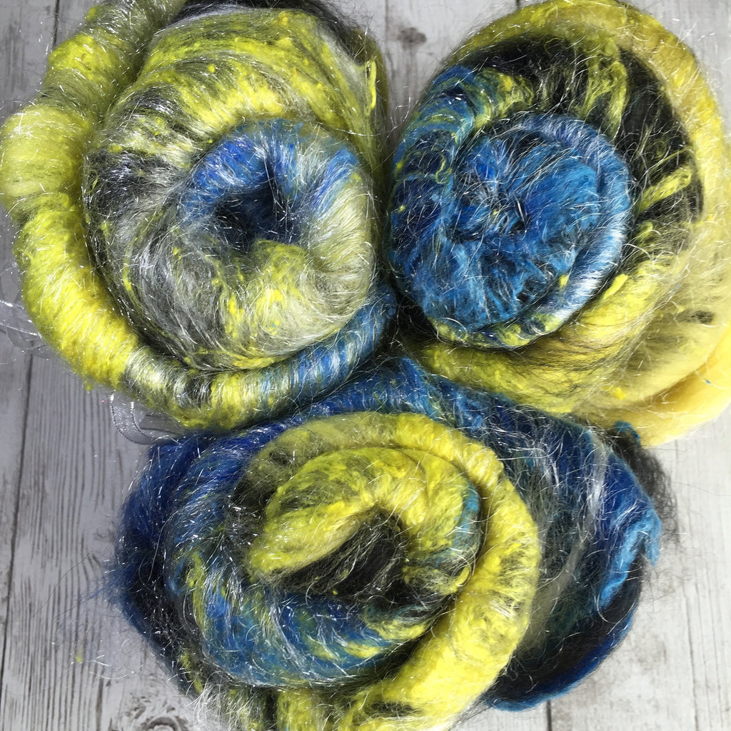 Baby Alpaca/Merino/Noil/Sparkle- Starry Night inspired (Text) -  2.0 oz