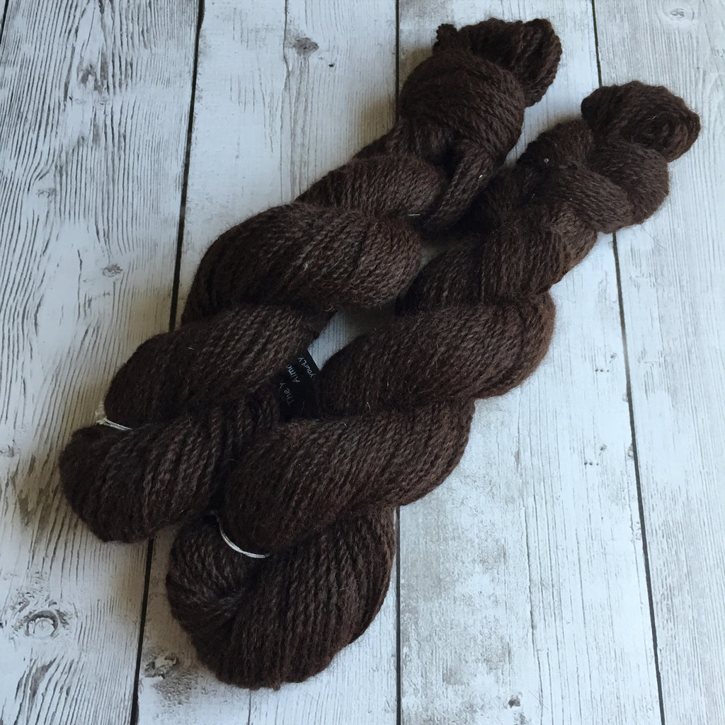 DK - 100% Alpaca Deep Chocolate Brown  2 skeins avail (360 yds) - Lizzie Lot2016