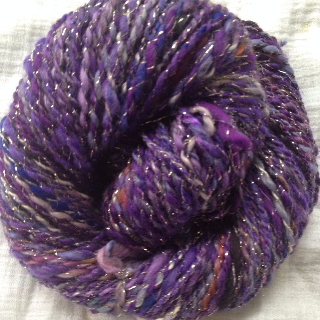 WORSTED - Mixed Fibers Plied with Metallic gold - Purple Haze - 4.4 oz - 144 yds (HS0122)