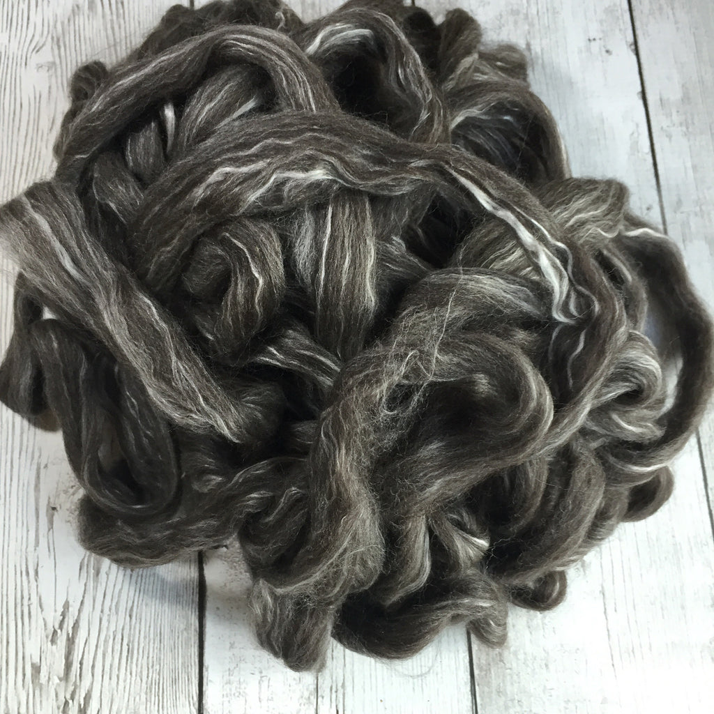 Baby Alpaca/ SW Merino/Silk Roving - Dk Grey/ Black - 2 oz