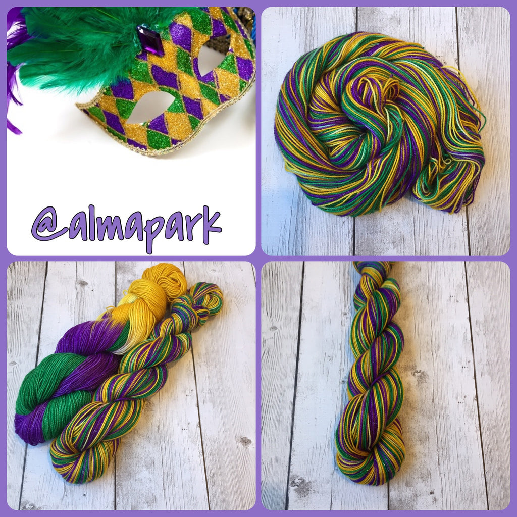 Mardi Gras™-  Fingering/ Sparkle Sock Hand Painted 438 yds (317) RTS