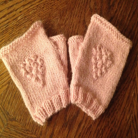 100% Baby Alpaca Hand Knitted Fingerless Gloves (with thumb)