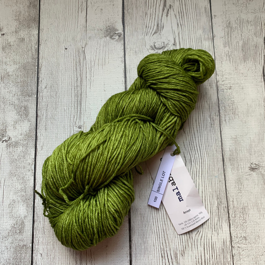 "Malabrigo Arroyo - ""CHARTREUSE"" Single Lot - Sport Weight - SW Merino"