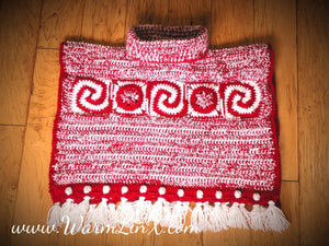 Candy Cane Holiday Car Seat Poncho