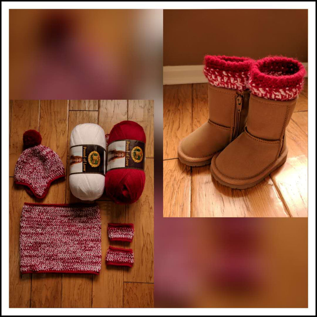 Candy Cane Holiday Cowl & Boot Cuffs