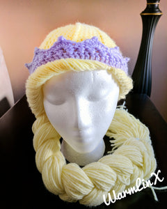 Princess Hair Wig (with Crown) Crochet PATTERN