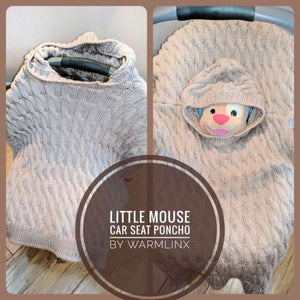 Little Mouse Carseat Poncho Knitting PATTERN