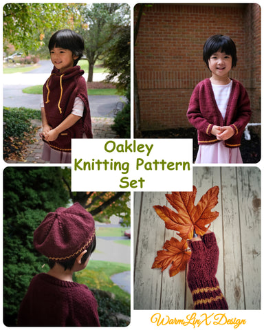 Oakley Knitting Pattern Set (4 patterns included, cardigan, poncho, beret & fingerless gloves)