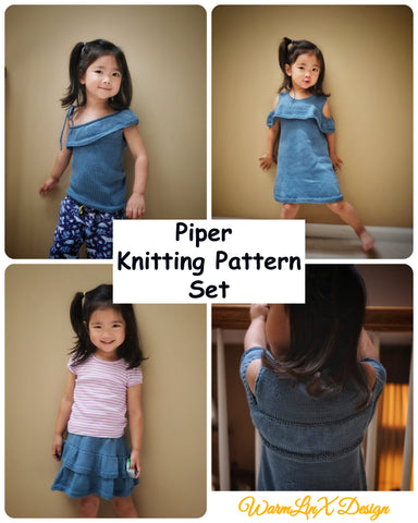 Piper Knitting Pattern Set (Dress, Skirt, Top)