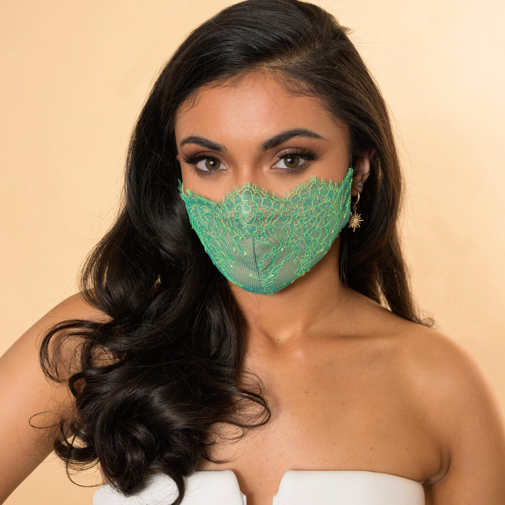The Emerald Green Chantilly Lace Designer Mask - Debbie Carroll
