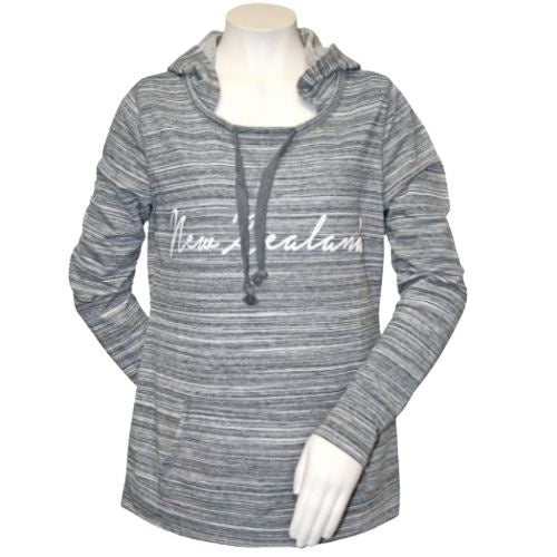 Adults - Ladies - Stripey Grey Hoody Sweatshirt