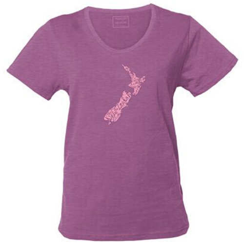 Adults - Ladies - NZ Map Tee - Aubergine Marle