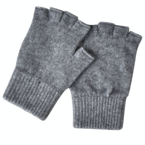 Possum/Merino Fingerless Gloves - Ash