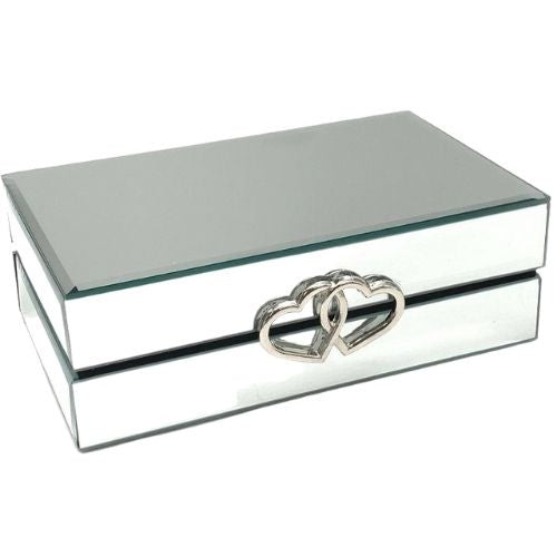 Glass Jewellery Box Double Heart Silver