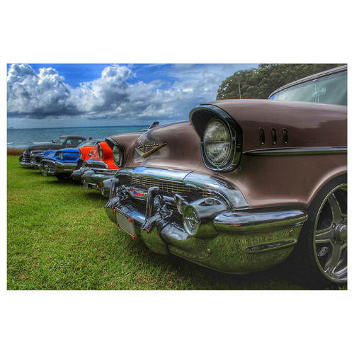 Classic Cars Print on Glass