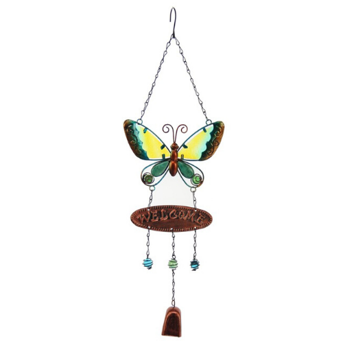 Welcome  Butterfly Wind Chime With Bells Green