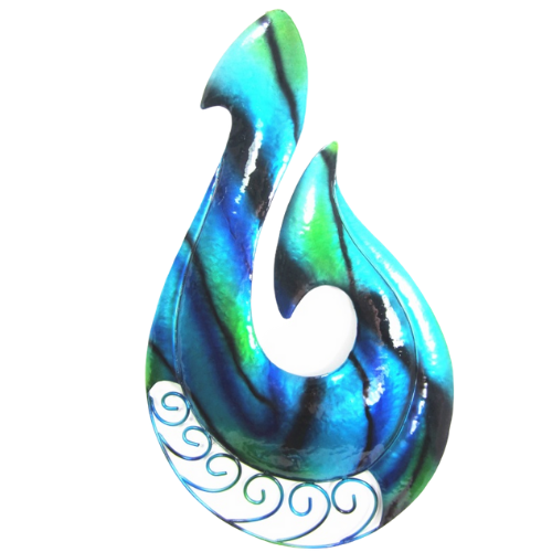 Koru Fish Hook Metal Wall Hanging Blue Green - Large