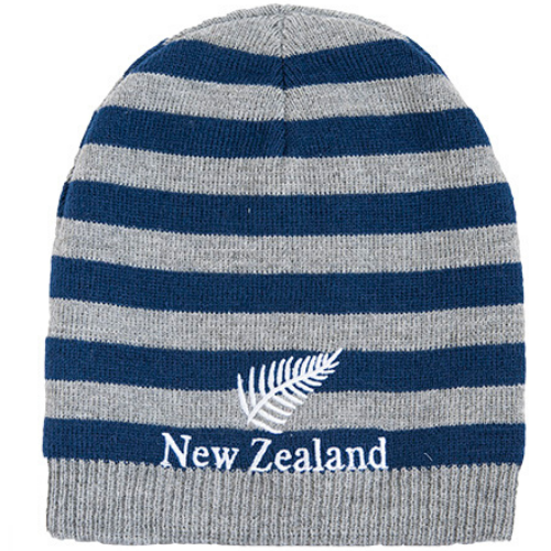 Grey/Blue Stripe - Reversible Beanie