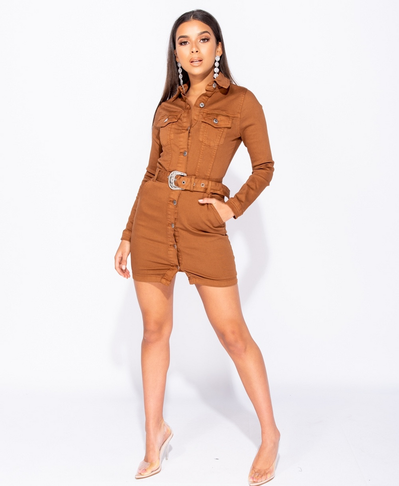 Brown Western Shirt Dress