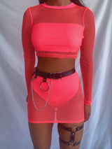 Neon Pink Fishnet Two Piece Crop Top and Mini Skirt for Festival outfit