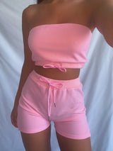 Bandeau Pastel Two Piece Lounge in Pink