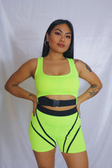 Neon Strap Buckle Shorts Set