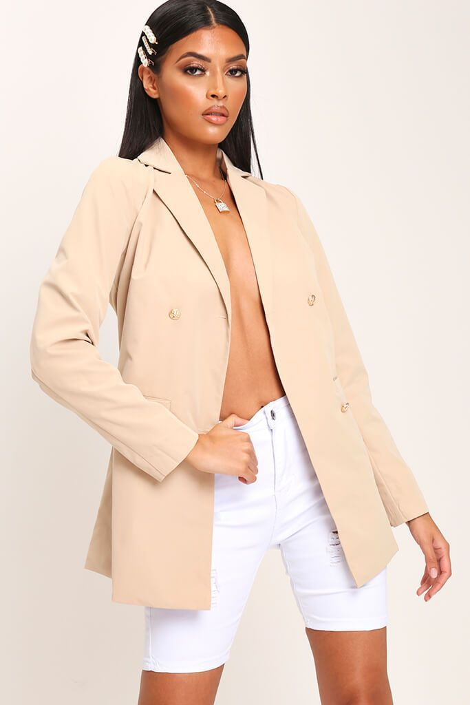 Camel Double Breasted Longline Blazer