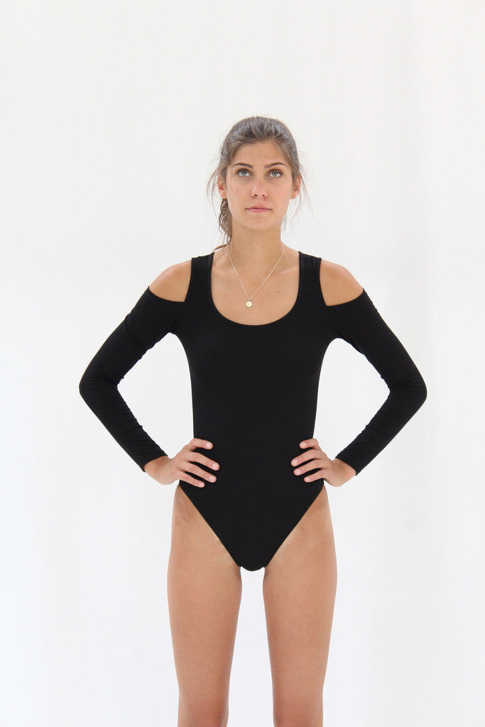 black organic cotton bodysuit beklina