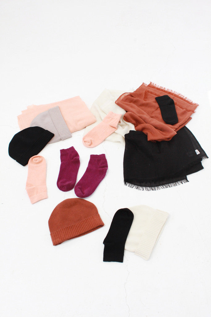 lina rennell cashmere accessories socks, hats, scarves