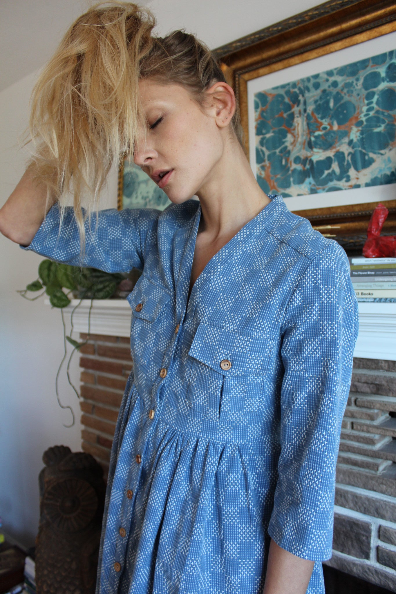 Heinui Noe Dress Bleached Sashiko Embroidered Cotton At Beklina