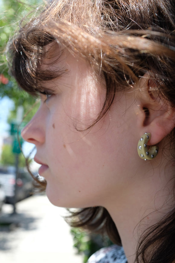 Rachel Comey Cuba Earrings Vanilla Silver Studs