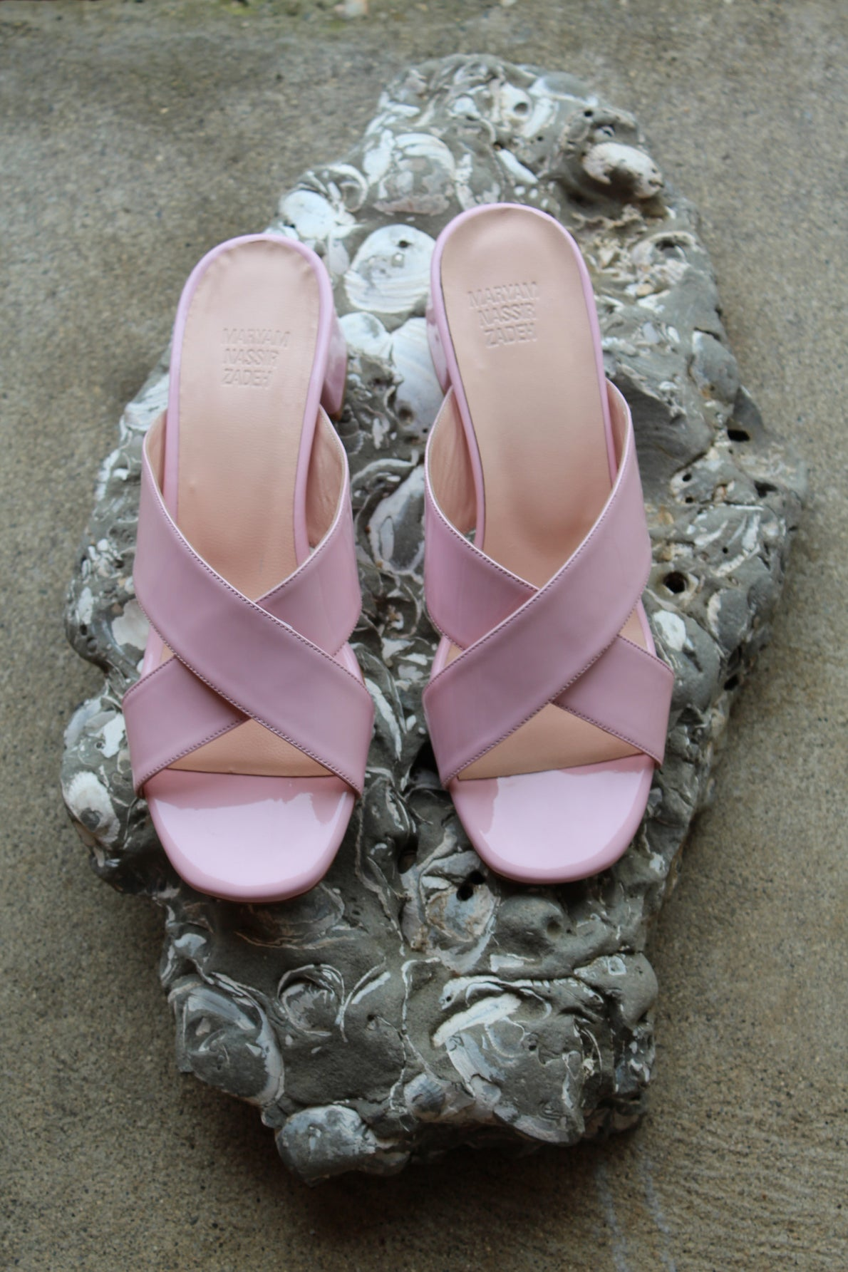 MNZ Lauren Slide Bubblegum Patent Leather At Beklina