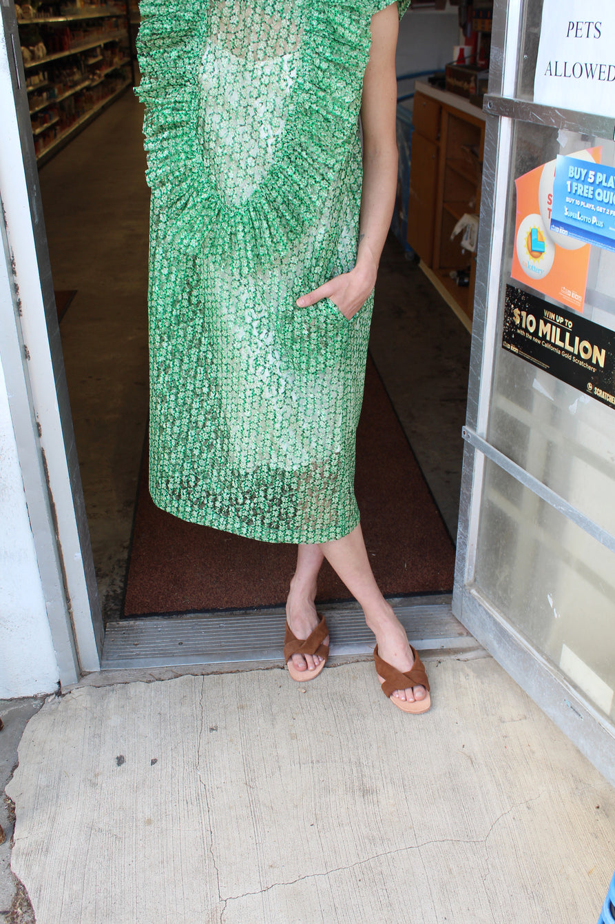 A Détacher Lavina Ruffle Dress Green
