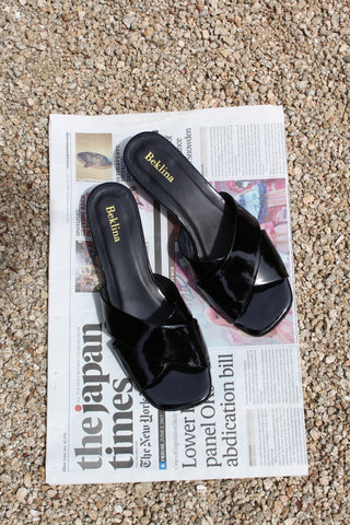 Beklina Criss Cross Slides Black Patent