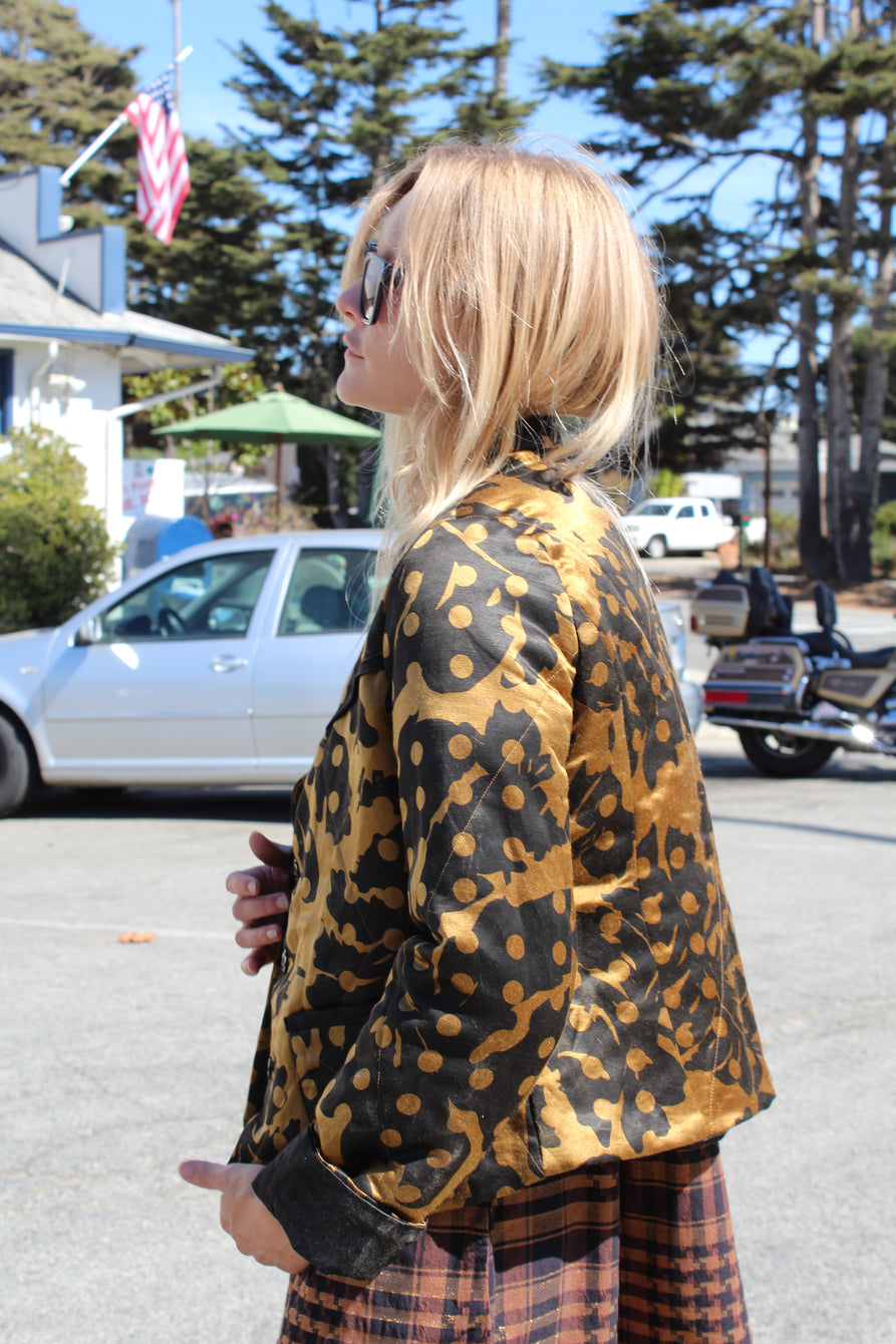 Beklina Quilted Jacket Leaf Print