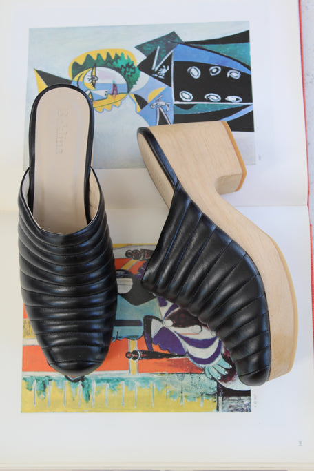 Beklina Ribbed Lego Clog Black