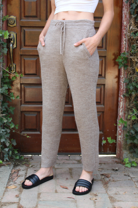 Micaela Greg Rib Sweat Camel