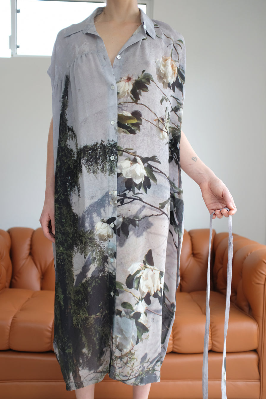 Anntian Silk Button Down Dress Floral Print Magnolie