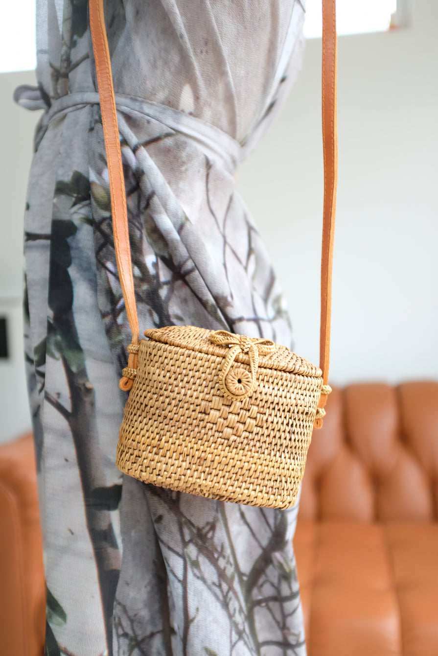 Lina Rennell Rattan Mini Purse