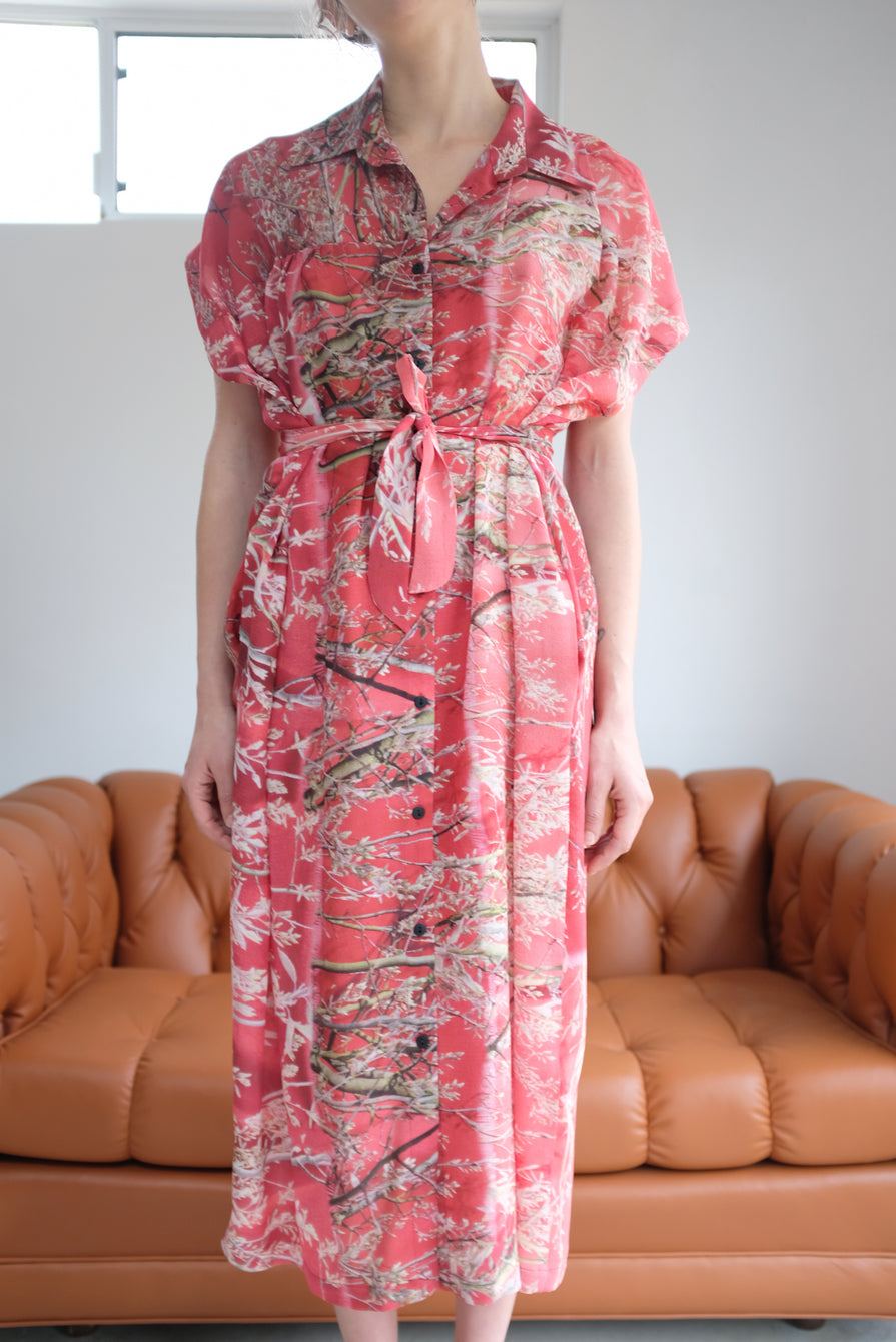 Anntian Silk Button Down Dress Floral A Felsenbirne