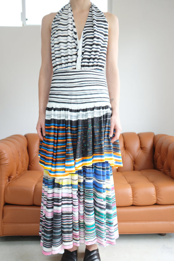 Anntian Circle Layer Dress Circle Stripe Dark